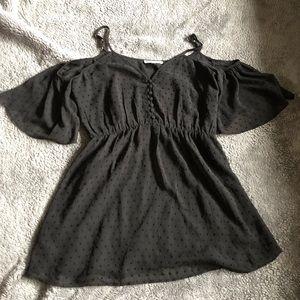 Tops - Black textured cold shoulder blouse